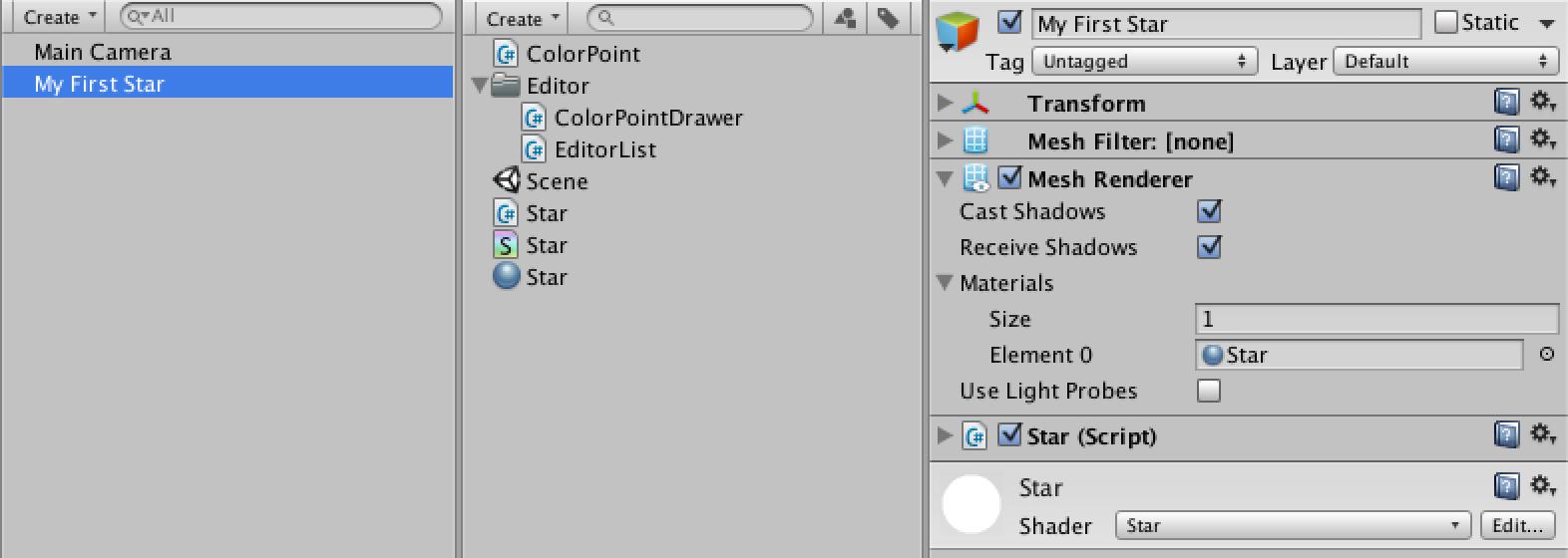 Star, a Unity C# Editor Tutorial