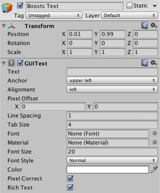 how to use guitext unity 3d